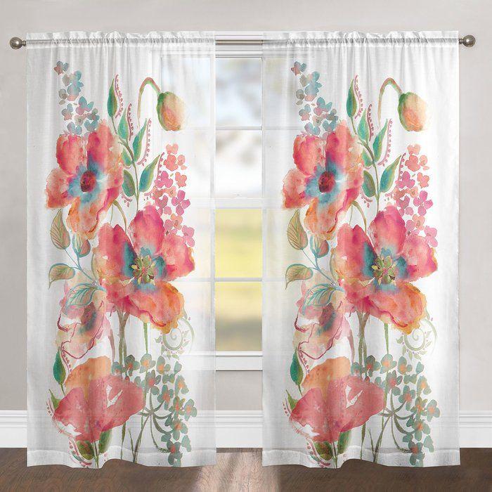 Kessinger Bohemian Poppies Single Curtain Panel Panel Curtains