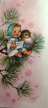 1950's Christmas Card....love the expression of the baby angel!
