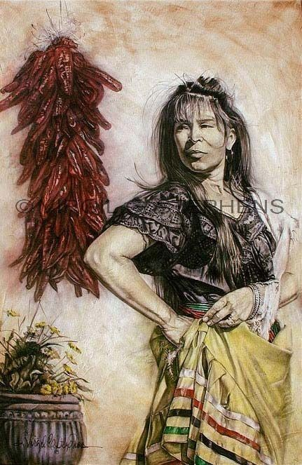 Mexican art, Mi Bella, print of a young spanish dancer. Mexican Art, spanish dancer, chili ristras, red chile, mexican artwork