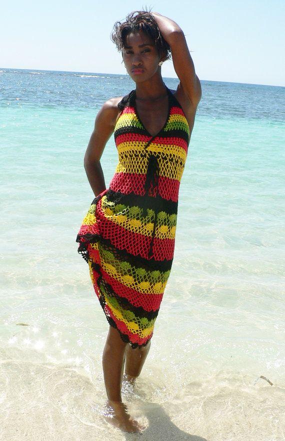 Vestido de ganchillo hecho a mano colores Rasta Jamaica 02.