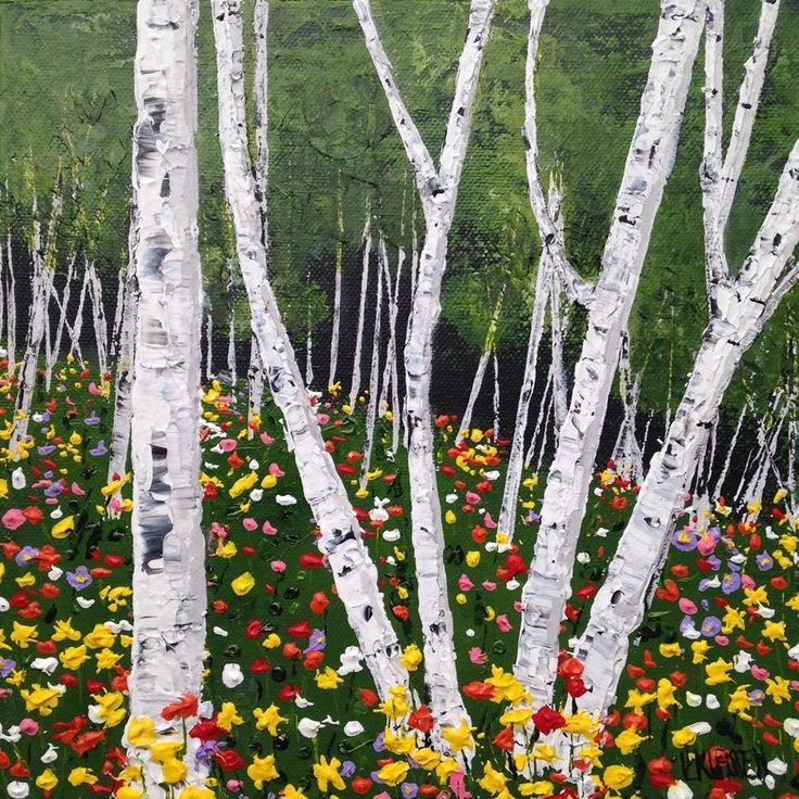 """Spring Daffodils and Birches, Acrylic on Canvas, 10"""" x 10"""""""