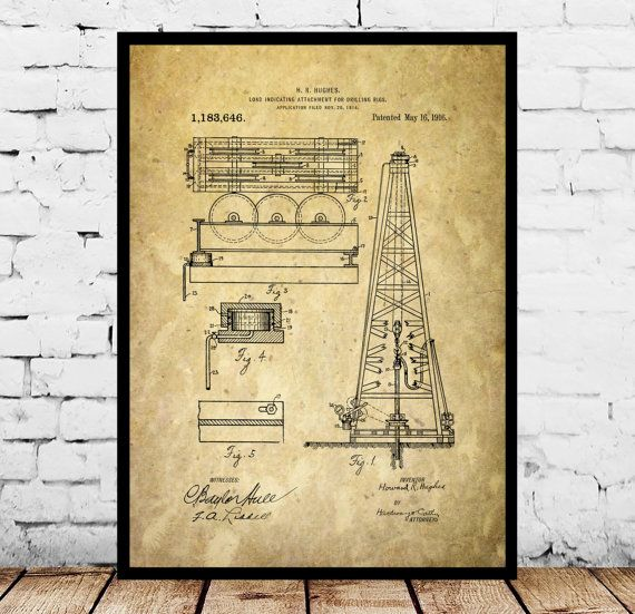 Oil Drilling Rig Patent , Howard Hughes Poster, Oil Drilling Rig Patent by Howard Hughes, Oil Rig Patent by STANLEYprintHOUSE  0.79 USD  This is a vintage patent print. The Oil Drilling Rig Patent by Howard Hughes from 1916.  This poster is printed using high quality archival inks, and will be of museum quality. Any of these posters will make a great affordable gift, or tie any room together.  Please choose between di ..  https://www.etsy.com/ca/listing/496210141/oil-drilling-rig-p..