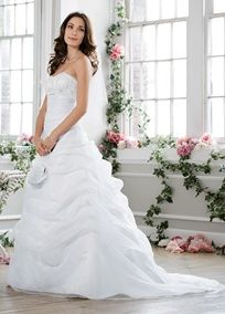 Organza draped pick-up with beaded lace empire   Wedding Dresses and Bridal Gowns at David's Bridal