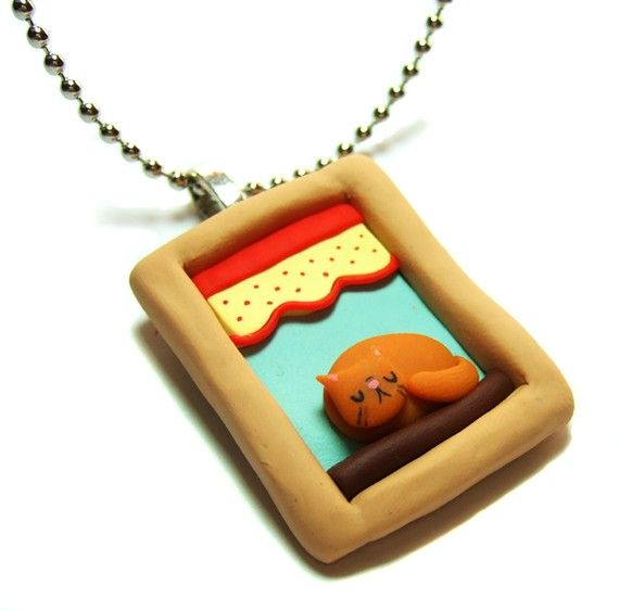 Orange Ginger Kitty Cat in the Window Handmade Necklace - Cat Lover Kawaii Jewelry - Polymer Clay Pendant - by The Happy Acorn via Etsy