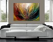 ABSTRACT Art Contemporary Painting Artwork Red Teal yellow Green Kids room Art Children Painting Acrylic Palette Knife Baby Room canvas
