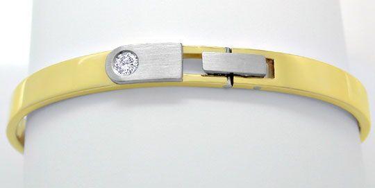 Foto 1, Platin Gelbgold Diamant Armreif 0,17ct Brillant, Luxus!, S8914