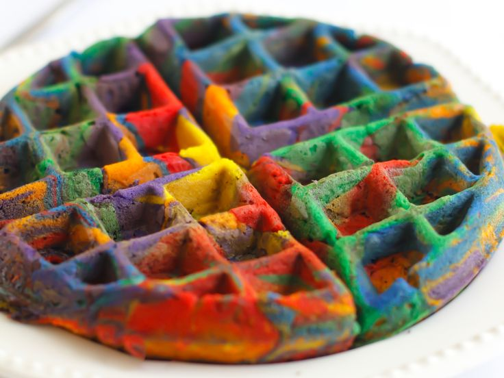 Tie-Dyed Waffle : Who knew breakfast could be so fun? Shake-and-pour waffle mix makes this project a snap. Prepare the waffle mix as directed, then pour the batter into 4 to 6 separate bowls. Tint each bowl a different color, then spoon the colorful batter into a preheated waffle iron. You're just five minutes away from a piping-hot psychedelic waffle — far out!