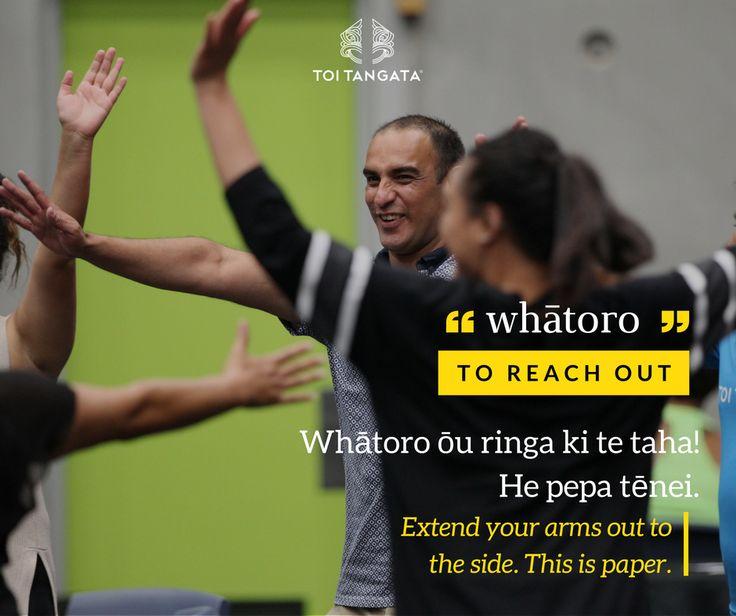 "Whātoro: to reach out  Whātoro ōu ringa ki te taha! He pepa tēnei. Extend you arms out to the side. This is paper.   At our Hui-ā-Tau 2016 in Ōtaki, Darrio had us play a life size version of ""Rock paper scissors"" with our bodies. Kupu o te wiki: whātoro. To reach out."