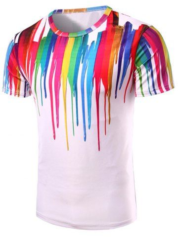 Colorful Paint Splatter Men's T-shirt - Rainbow of colors printed to look like an artist dripped or splashed paint vertical stripes around the neckline.  Unique, cool, & bold mens fashion statement shirt. 80s party outfits, gay pride outfit, trans pride, rave outfit ideas, edgy fashion, bold fashion style, unique fashion, retro fashion, fashion designing ideas,  fashion designer, festival fashion, techno hip hop dance. This is an affiliate link.