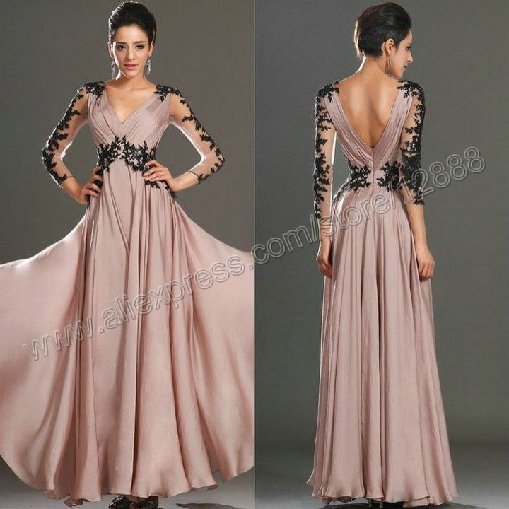 Newest Style Long Sleeve Formal Dress Wedding Party Dress Mother 2014 Free Shipping Black Lace-in Mother of the Bride Dresses from Apparel & Accessories on Aliexpress.com