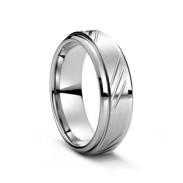 Diamond Cut Tungsten Carbide Men's Ring