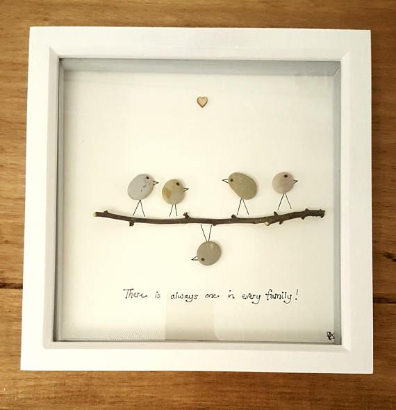 Handmade pebble art ALWAYS ONE picture. White box frame is 23cm square. Due to each picture being made from natural materials; pebble and twigs will vary slightly in each picture. Choose what style you would like by how many birds you would like in the picture. Thank you