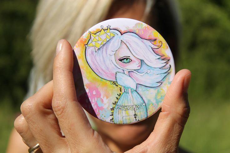 Specchietto portatile disegno principessa delle fiabe, specchio cosmetico compatto favole, disegno su specchio da borsetta di laKuki su Etsy