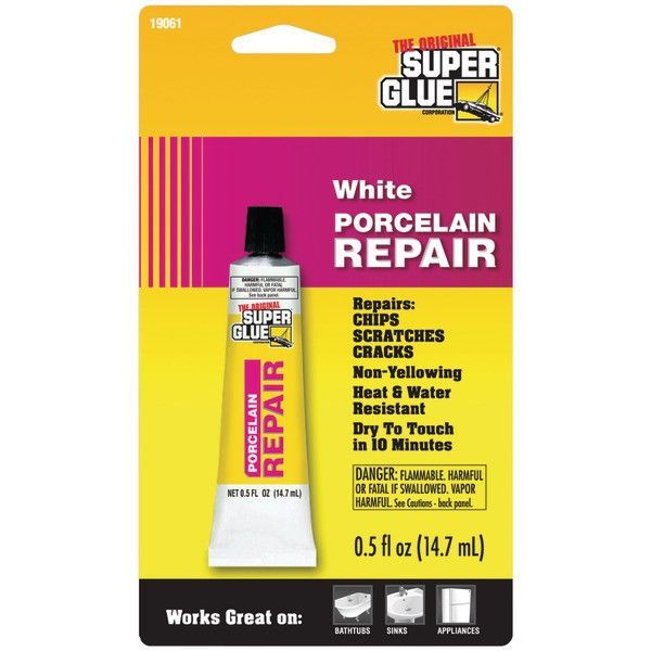 SUPER GLUE 19061 Porcelain Repair • Nonyellowing • Heat-resistant up to 350°F • White • .5 fl oz tube Brand: SUPER GLUE MPN: 19061 UPC: 073754190617 Category: Home - Home Improvement - GLUES & ADHESIV