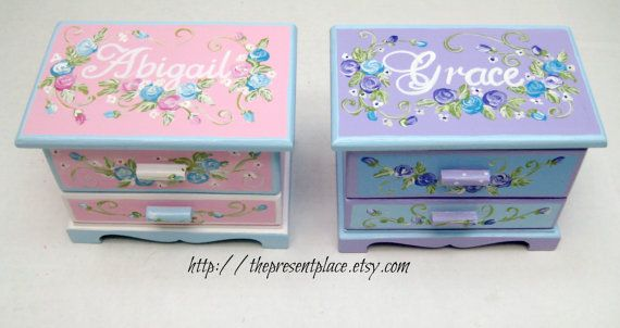 two jewelry boxes, personalized,flower girl gifts,jewelry box gift, pink,blue, purple, rose, kids jewelry box, girls jewelry box,flower girl