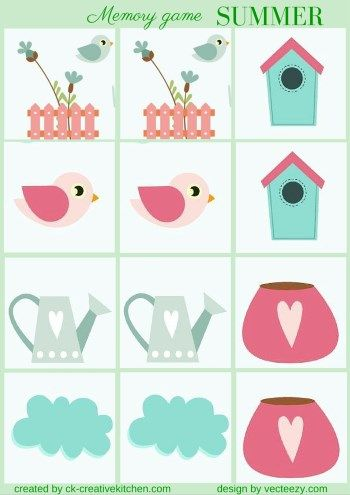 matching memory game free printable summer