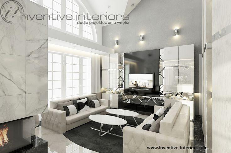 Projekt salonu Inventive Interiors - luksusowy wysoki salon z beżowymi sofami