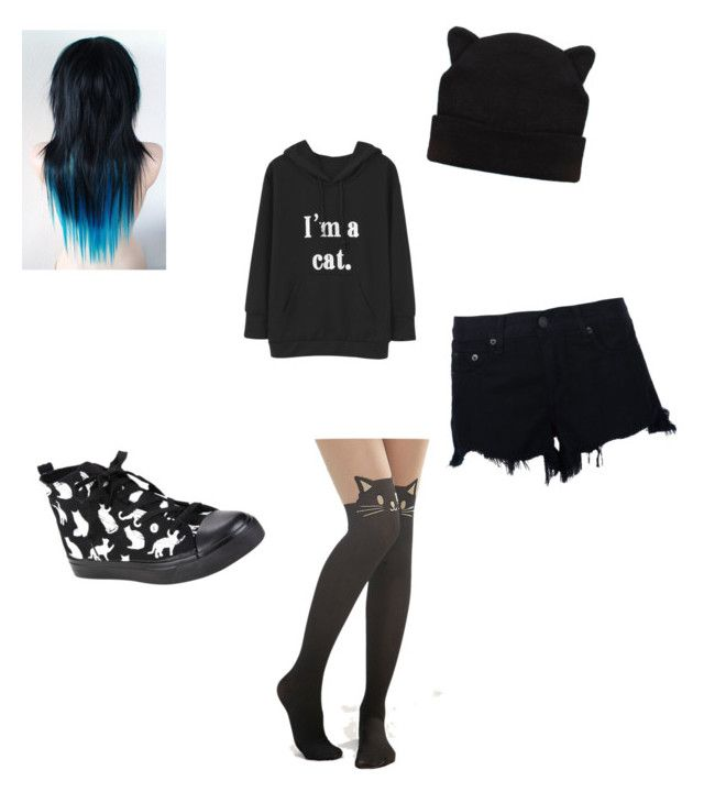 """""""Emo Cat"""" by trinity-summer-tallent ❤ liked on Polyvore featuring Leg Avenue and rag & bone"""