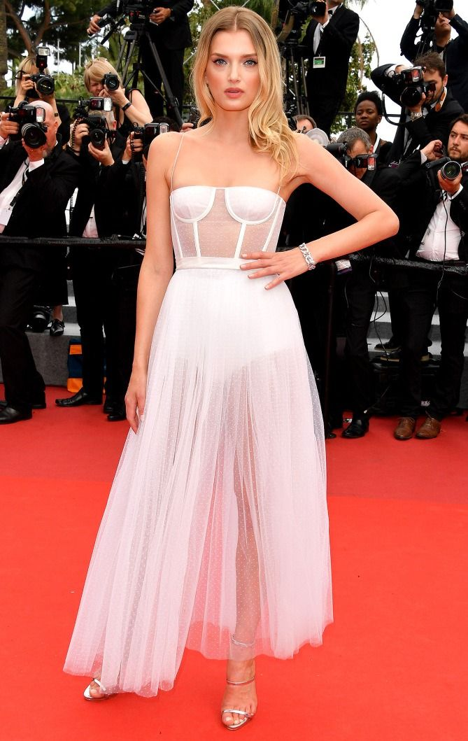 Best Dressed Stars on Cannes Red Carpet 2017 - Lily Donaldson in a white sheer Dior dress