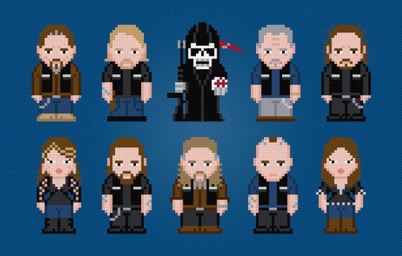 Sons of Anarchy - TV Characters - Digital PDF Cross Stitch Pattern    This is a digital PDF file of a cross stitch pattern. You will need to