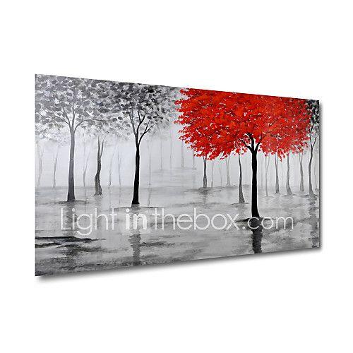 Handgeschilderde Abstract Bloemenmotief/Botanisch Abstracte landschappen Horizontaal Panoramisch,Modern Eén paneelHang-geschilderd 2017 - €54.31