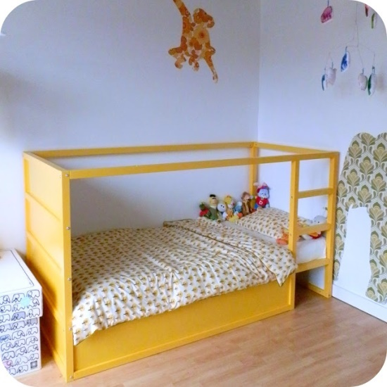 : restyled IKEA KURA kids bed in yellow