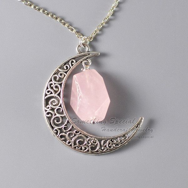 Crescent moon necklace Rose quartz necklace Antique silver half moon... (20 AUD) ❤ liked on Polyvore