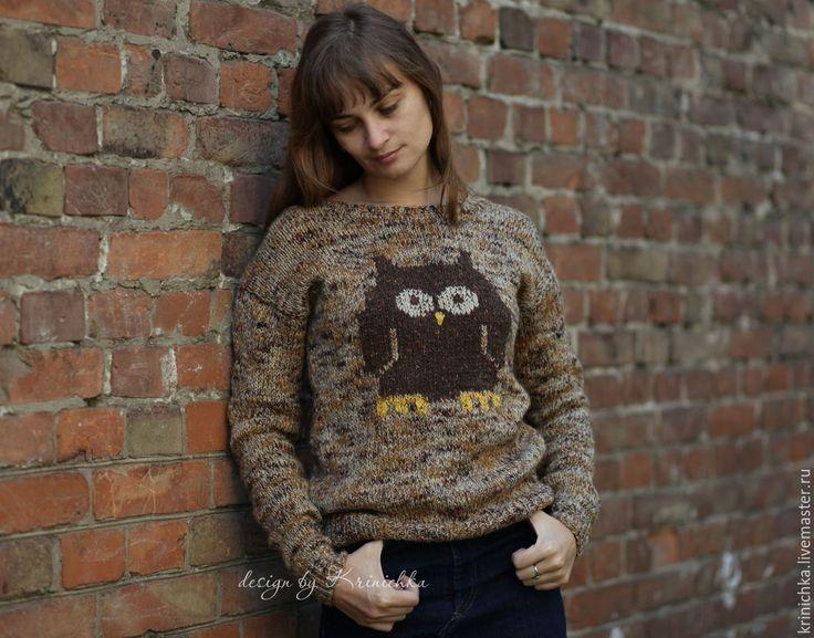 Купить Шерстяной свитер с совой - оранжевый, рыжий, сова, свитер с совой, шерстяной свитер