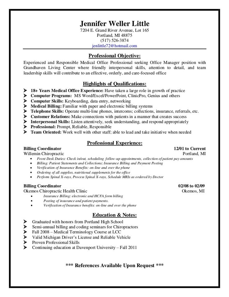 medical billing supervisor resume sample