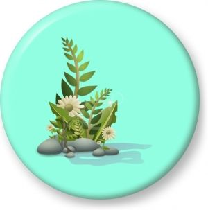 Plants pebbles and flowers vector - Button Badge - Brooch - Gift