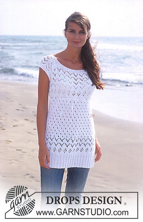 DROPS Long top with lace pattern knitted in Safran. ~ DROPS Design