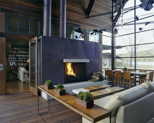 Интерьер, апартаменты, дизайн интерьера, камин Interior Fire Place Lake Austin  House By Lake Flato Architects