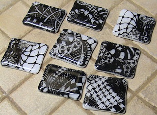 DEBORAHREAD.COM: Zentangle Fused Glass from Silk Screened Glass Sheets - Black and White
