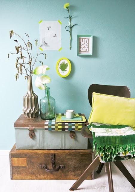 Flexa vintage blue met geel, mooie kleurencombinatie