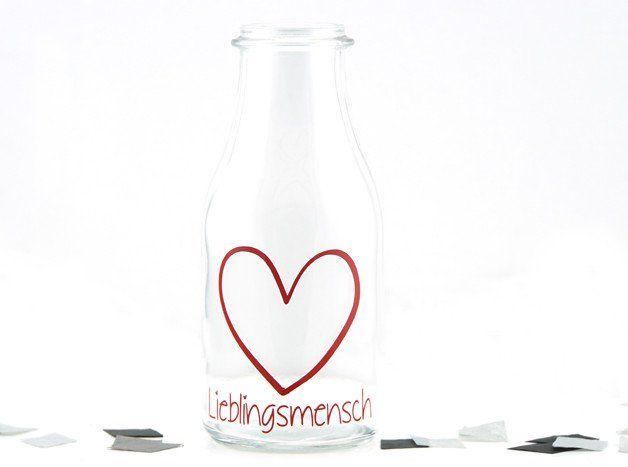 """Deko-Objekte - Spruchvase / Glas """"Lieblingsmensch"""" - ein Designerstück von schoenes-von-Herzen bei DaWanda"""