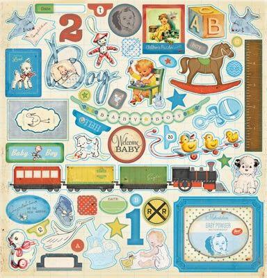 Από την συλλογή 'Little Boy Blue' .  Η συσκευασία περιλαμβάνει 1 φύλλο 30.5cm x 30.5cm με αυτοκόλλητα από χοντρό χαρτόνι.. Περίπου 48 τεμάχια στο φύλλο.