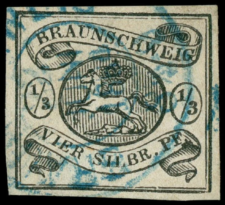 Old German States Brunswick Michel. No. 5 used, having bright colors, having full margins value, in perfect condition, expertized signed on the base Lange BPP, Michel 4...