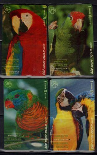 ISRAEL-2001-BEZEQ-TELECARD-BIRDS-PARODS-SET-OF-4-TELECARDS-USED-VF