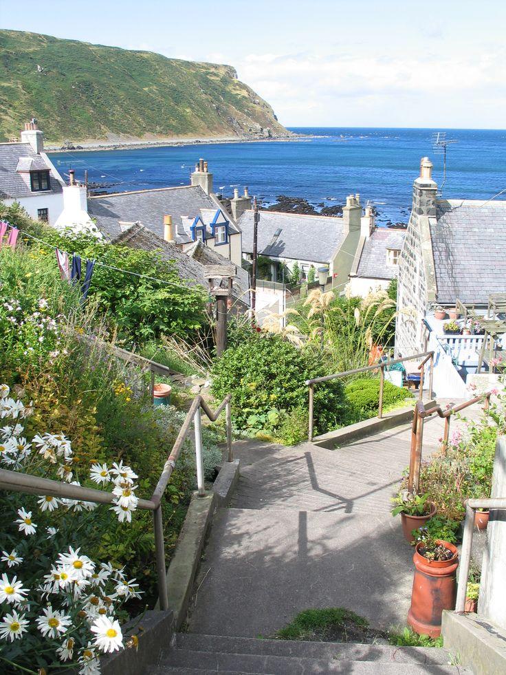 View of Gardenstown village, North East Scotland