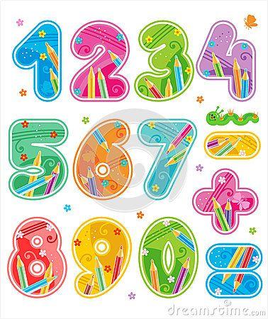 Números decorados del 0 al 9. Además, los signos más (+), menos (-) e igual (=).