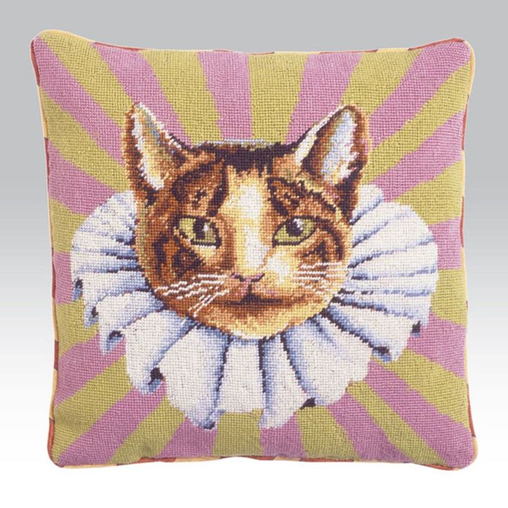 Cat in a Ruff Tapestry Kit - Kit contains, 100% cotton canvas painted in full colour, all the yarns required and an easy to follow guide.