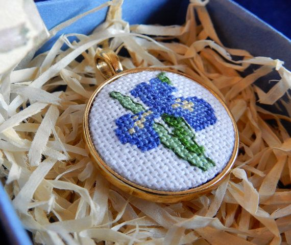 Crossstitch Pendant Iris handmade necklace от Microstitch на Etsy