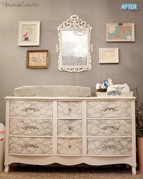 Lace and spray paint to redo a dresser into a changing table