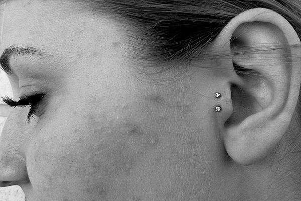 Double Teague piercing