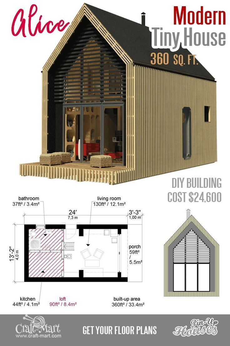 Cute Small Cabin Plans (A-Frame Tiny House Plans, Cottages, Containers) -  Craft-Mart | Modern tiny house, Small house floor plans, A frame house