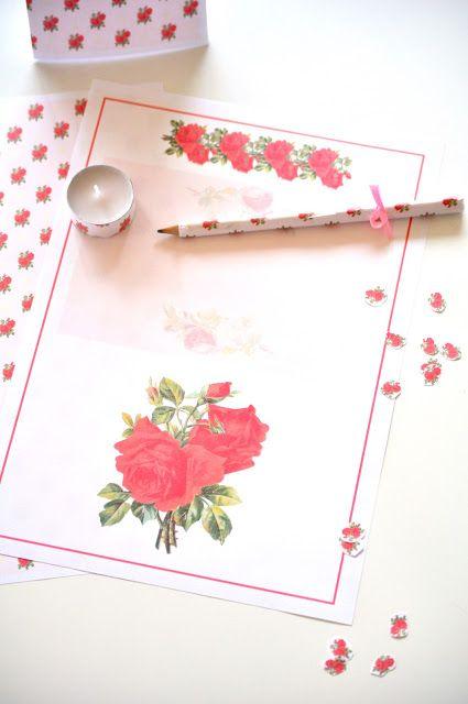 Free digital rose scrapbooking paper + printable stationery - Rosenpapier | MeinLilaPark