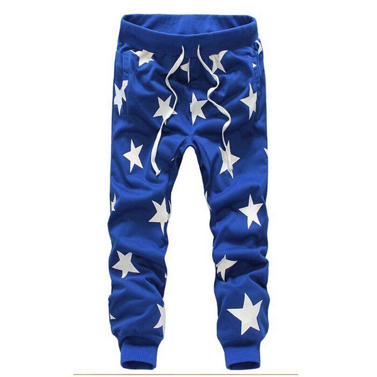 Мужчины звездные печать пот брюки гарем танец сталкивателем хип-хоп мужчин военные спортивные штаны человек штаны