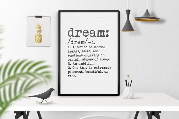 Dream definition. Dream Typewritter. Dream dictionary. Scandinavian poster. Scandinavian wall art. Dream poster. Dream wall art.