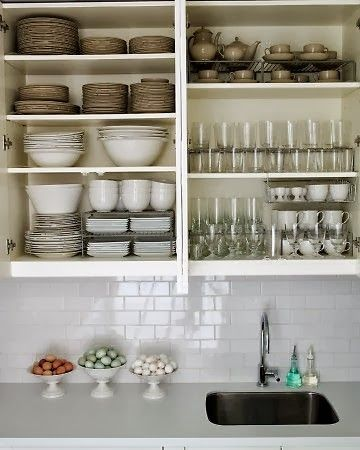Organized dishes. 31 Days of Spontaneous Organizing - Day #25: Kitchen Cupboards