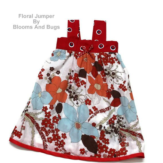 Summertime Jumper Dress Pattern and TUTORIAL... whether you call it a jumper or a pinafore, this little outfit is adorable. Get the tutorial at ~ Blooms and Bugs